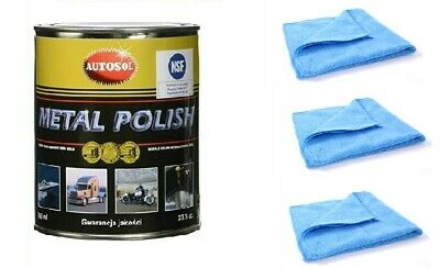 Autosol Metal Polish Paste 750ml Tin Solvol Chrome Aluminium Cleaner + 3 Cloths