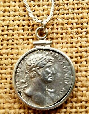 Emperor Hadrian Ancient Roman Empire Genuine Denarius Coin 925 Silver Necklace