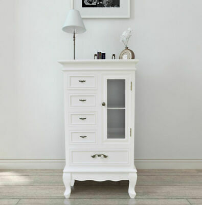 Small French Cabinet Glass Storage Furniture White Shabby Chic Vintage Cupboard