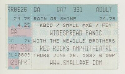 COOL Widespread Panic Neville Brothers 6/26/97 Red Rocks CO Ticket Stub! Denver