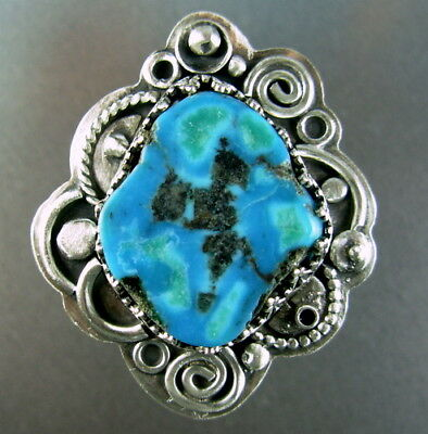 Commercial turquoise raw slice 925 sterling silver ring Chelle' Rawlsky 9+ OOAK