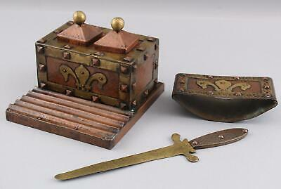 Antique Arts & Crafts Hammered Copper & Brass Inkwell, Blotter, Letter Opener NR
