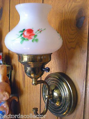 SALE 2 1950s Milk Glass Light Sconces Hand Painted Red Rose Shabby Chic Cottage