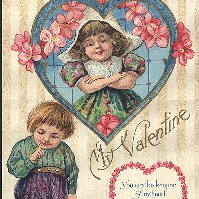 """Dutch Children Romance,Valentine's Day """"You Are The Keeper Of My Heart"""" Postcard"""