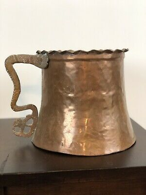 "Antique Handmade Hammered Copper Water Jug w/Brass Handle 6.5"" Tall"