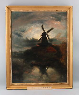 Antique 19thC Dutch Windmill Tonalist Sunrise Landscape Oil Painting, NR