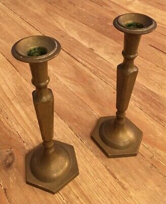 Pair of Vintage Matching Solid Brass 10 Inch Candlesticks Heavy Great Patina