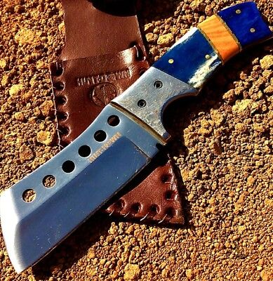 "Hunt Down 9"" Full Tang Fixed Blade Hunting Survival Knife With Damascus Handle"