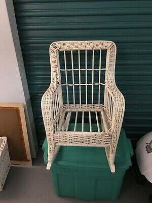 Vintage Wicker Child Rocking Chair Intricate Detail White Rocker Antique