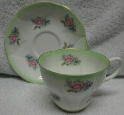 Royal Albert Horizon Series Green Edge Pink Rose Stencil Cup and Saucer