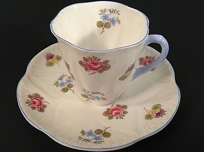 Shelley England Fine Bone China Rose Pansy Forget Me Not Cup And Saucer Dainty