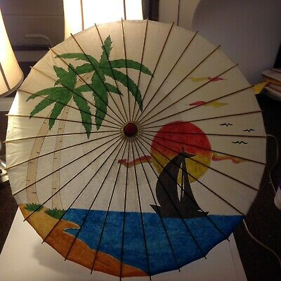Umbrella Chinese Oriental Wooden Old Bamboo Parasol Handmade Paper Vintage