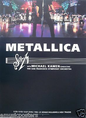 "METALLICA ""S & M"" U.S. PROMO POSTER-Heavy Metal Rock Music Legends With Symphony"