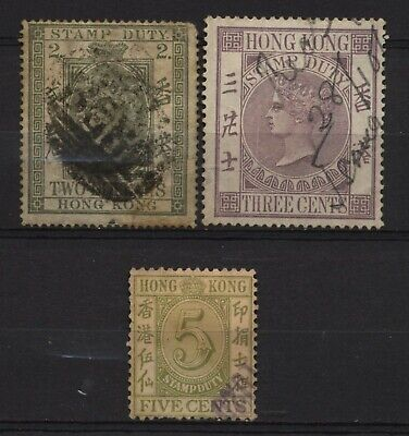 Hong Kong Collection 3 QV Stamp Duty Stamps Used