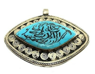 pendant ancient roman style silver antique stone intaglio afghan turquoise 37 g