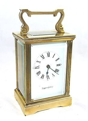 MAPPIN & WEBB Brass Carriage Mantel Clock Timepiece with Key  Working Order (61)