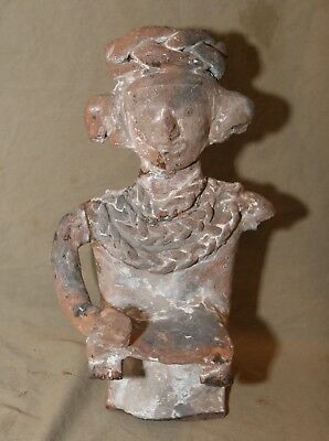 """Vintage Antique or Ancient Pre-Columbian Style 14"""" Terracotta Figurine w Losses"""