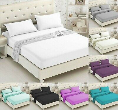 200 Thread Count Fitted Sheet 100% Egyptian Cotton Single Double Super King Size