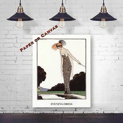 Evening Dress by A.E. Marty - French Fashion Illustration - Giclee Art Print