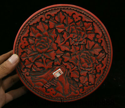17CM Old Chinese Red Lacquerware Dynasty Carved Flower Storage jewelry Box
