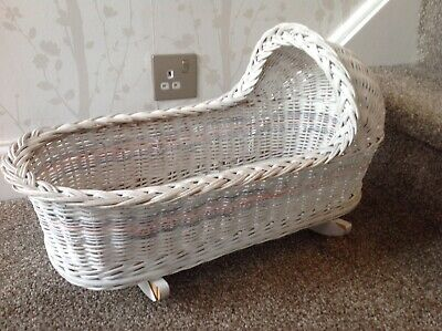 Vintage Wicker Rocking Cot For Toy Baby Doll