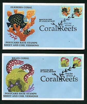 5363-70 POSTCARD RATE CORAL REEFS * 2019 ISSUE * COIL & SHEET> ALL 8 ON 4 FDCs >