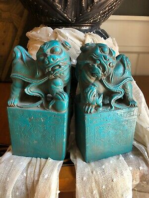 Estate Pair Vintage Antique Chinese Carved Book Ends Foo Dogs Aqua Pottery