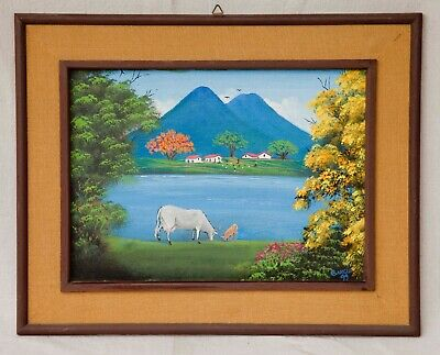 Painting Vintage Painting Oil on board Signed Garcia LATIN AMERICAN LANDSCAPE