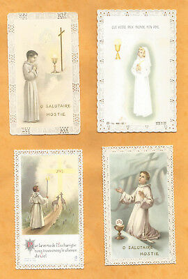 LOT 4 Images PIEUSES HOLY CARD CANIVET DENTELLE RECENTS COMMUNION
