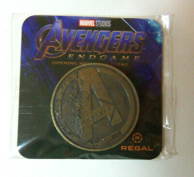 AVENGERS ENDGAME COIN Opening Night Fan Event 1 RARE GOLD REGAL VARIANT Unopened