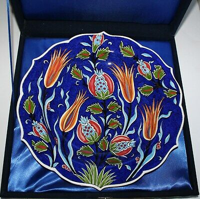 "Special Handmade 12"" Turkish Iznik Raised Floral Pattern Ceramic Plate In Box"