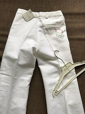 Christian Dior girls White trousers 7-8 years BNWT Embroidery designer PRP £80