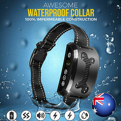 Auto Anti Bark Collar Stop Dog Barking Waterproof 7 Rechargeable Shock/Safe