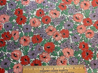 Vintage Cotton Fabric 30s Cute Purple Pink Green Red Floral 35w 1yd
