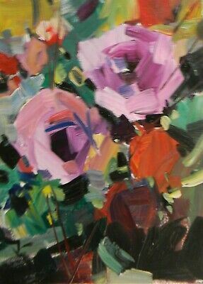 Jose Trujillo Flowers Floral Pink Garden Impressionism Abstract Modernism Nr