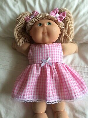 """DOLLS CLOTHES - DRESS & BOWS to fit 16"""" CABBAGE PATCH ~ Pink White Check"""