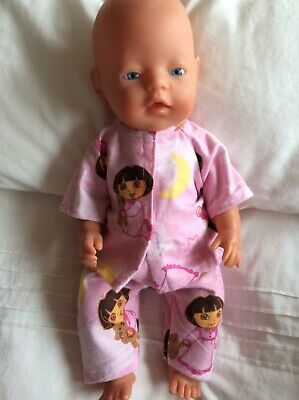 "DOLLS CLOTHES - Pyjamas to fit 17"" Baby Born doll ~ Pink Dora In Nightie Print"