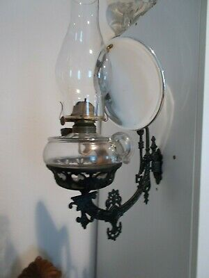 B&H style Cast Iron Wall Bracket Finger Oil Lamp Reflector & Wall Plate c1880s