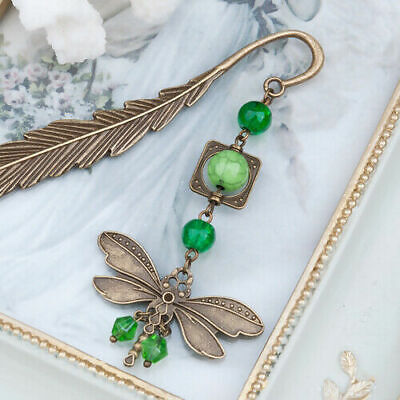 Bookmark Dragonfly Antique Bronze Green Imitation Turquoise Feather Bookmark