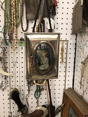 Antique Vintage Unusual Solid Silver Dome Shape Picture Frame & Painting Inside