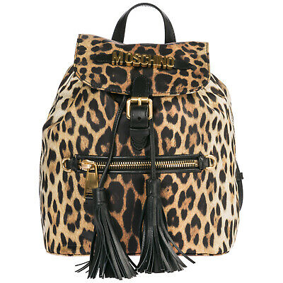 Moschino Women's Rucksack Backpack Travel New Leopard Brown 7Bc