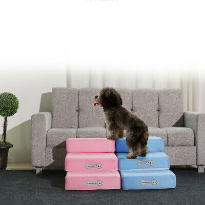 Pet Stairs Dog Cat Training Steps Safe Ramp Foam Couch Removable Cover Washable