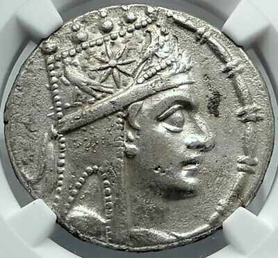 TIGRANES II 80BC  Authentic Ancient Armenian Silver Greek Coin Armenia NGC AU