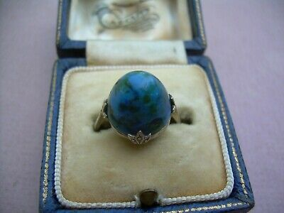 Antique Art Deco Silver and Lapis Lazuli Ring.
