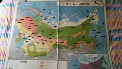 Vintage 1970s  FrenchDouble-Sided School WALL CHART MAP Of USSR Russia& China