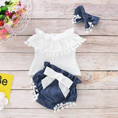 3x Newborn Baby Girls Off Shoulder Ruffle Top+Shorts Pant Outfits Set Clothes