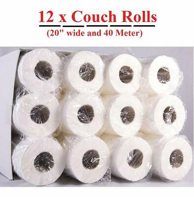 "LUXURY White 20"" Couch Hygiene Roll - (12 Roll Box) perforated Medical Roll"