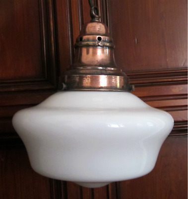 "Vintage / Antique Large 12"" Opaline Chapel Light Art Deco With Copper Gallery"