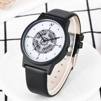 Special Male Quartz Wristwatch Pin Buckle Black PU Leeather Band Watches