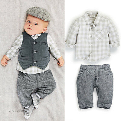 3pcs Newborn Baby Boy Gentleman Waistcoat+ Pants+ Shirt Outfit Clothes Set Suit